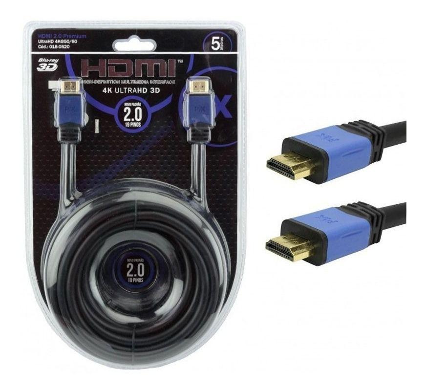CABO HDMI 5M 2.0 4K ULTRAHD 19 PINOS C/ FILTRO 018-0520 -PIX