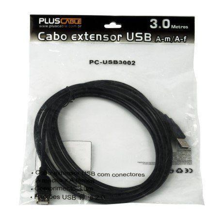 CABO USB 2.0 EXTENSOR AM X AF 3M PC-USB3002 - PLUS CABLE
