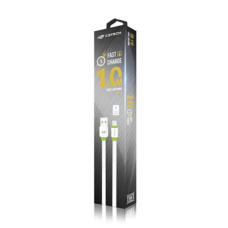 CABO USB IPHONE (IOS) 1M CB-110WH BRANCO - C3 TECH