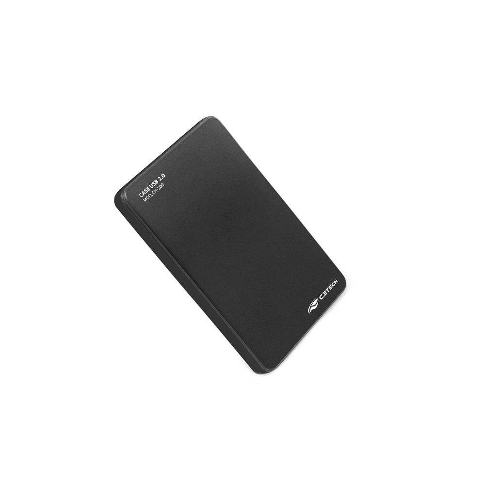 CASE PARA HD / SSD 2.5 USB 2.0 CH-200BK PRETO - C3 TECH  - GAÚCHA DISTRIBUIDORA DE INFORMÁTICA
