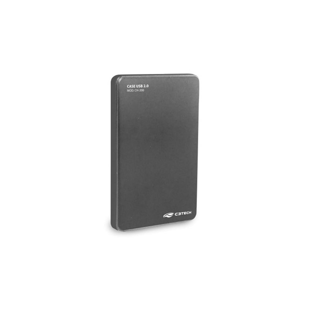 CASE PARA HD / SSD 2.5 USB 2.0 CH-200GY GRAFITE - C3  - GAÚCHA DISTRIBUIDORA DE INFORMÁTICA