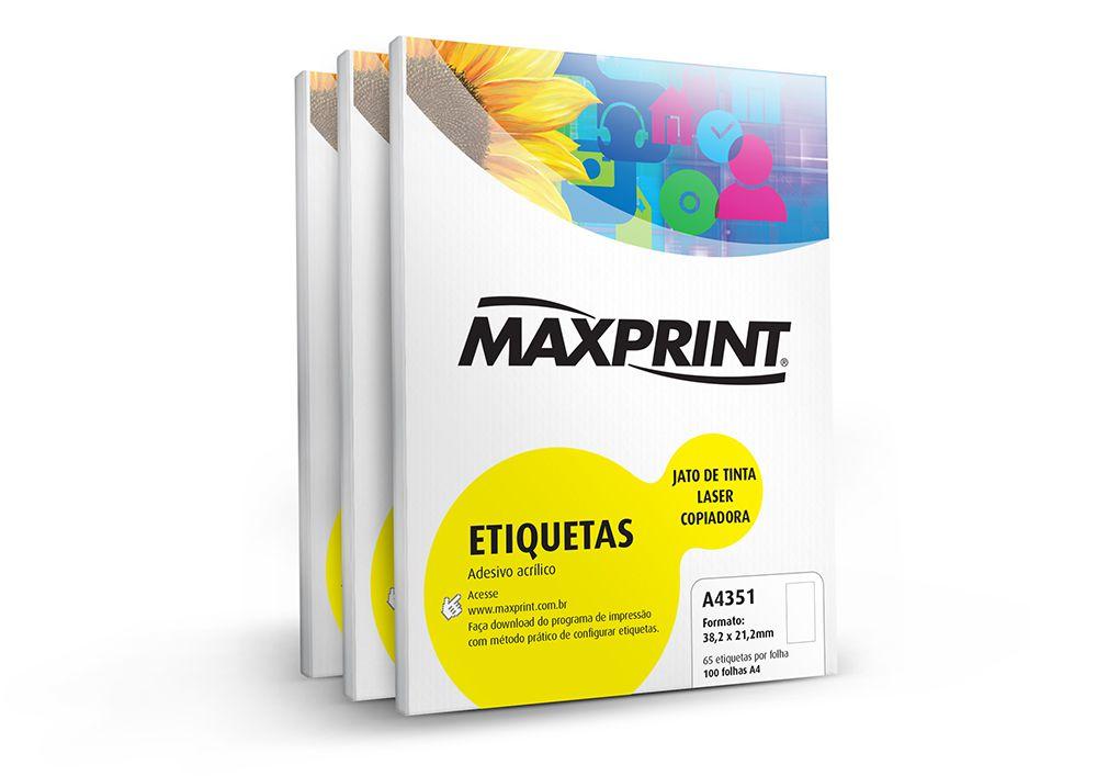 ETIQUETA A4351 100G 21.2X38.2 100FLS MAXPRINT - 49.347.3