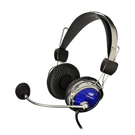 FONE HEADPHONE GAMER PTERODAX MI-2322RC AZUL/PRATA - C3 TECH