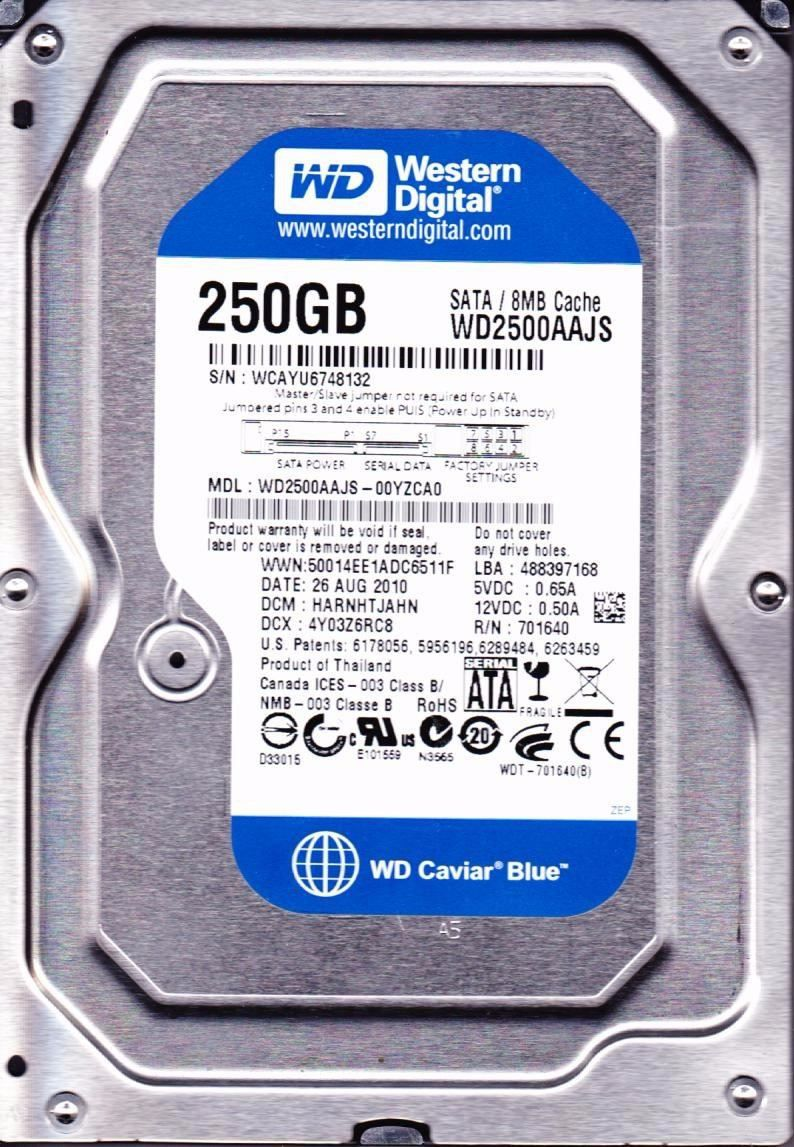 HD 250GB SATA2 7200RPM WD2500AAJS - WESTERN DIGITAL