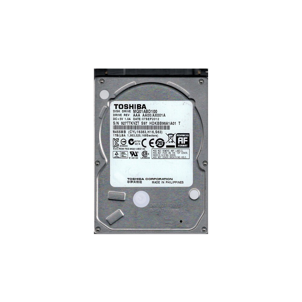 HD NOTEBOOK 1TB SATA3 MQ01ABD100M - TOSHIBA  - GAÚCHA DISTRIBUIDORA DE INFORMÁTICA