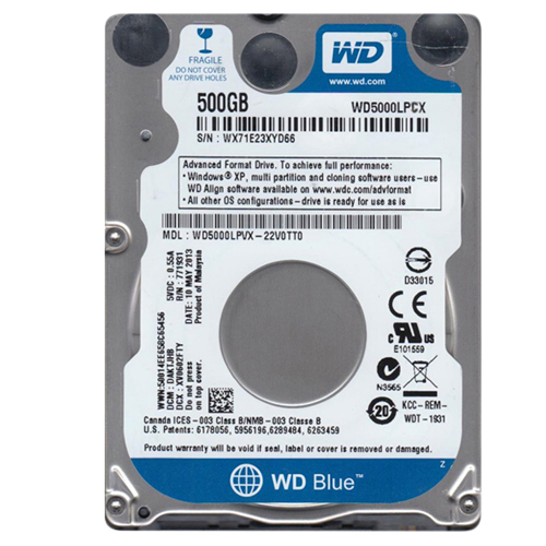 HD NOTEBOOK 500GB 5400RPM /6GB / S WD5000LPCX - WESTER DIGITAL