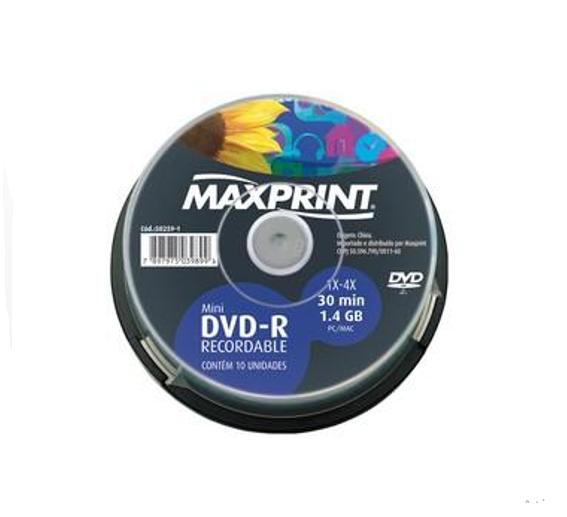 MINI DVD-R C/ 10 UN. 50.259.1 - MAXIPRINT  - GAÚCHA DISTRIBUIDORA DE INFORMÁTICA