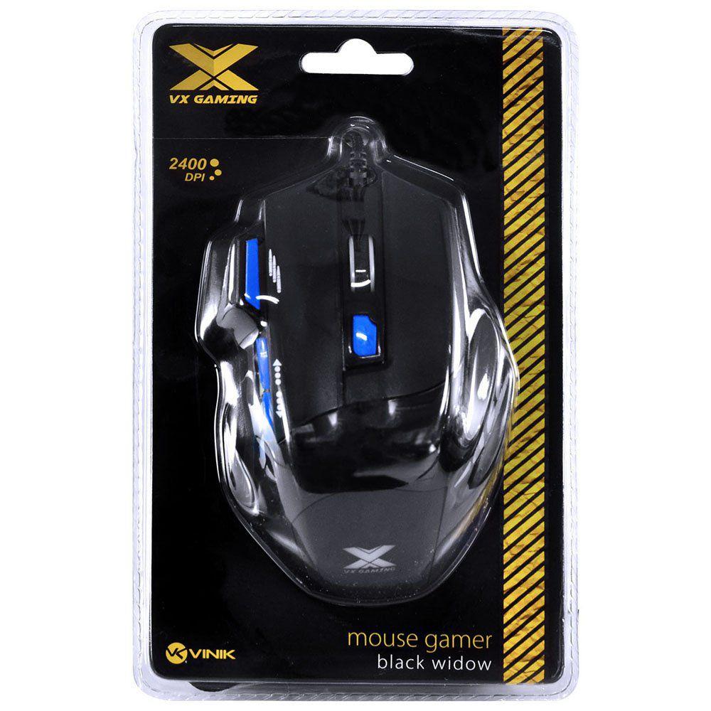 MOUSE GAMER USB BLACK WIDOW 2400DPI PRETO/AZUL 28429 - VINIK