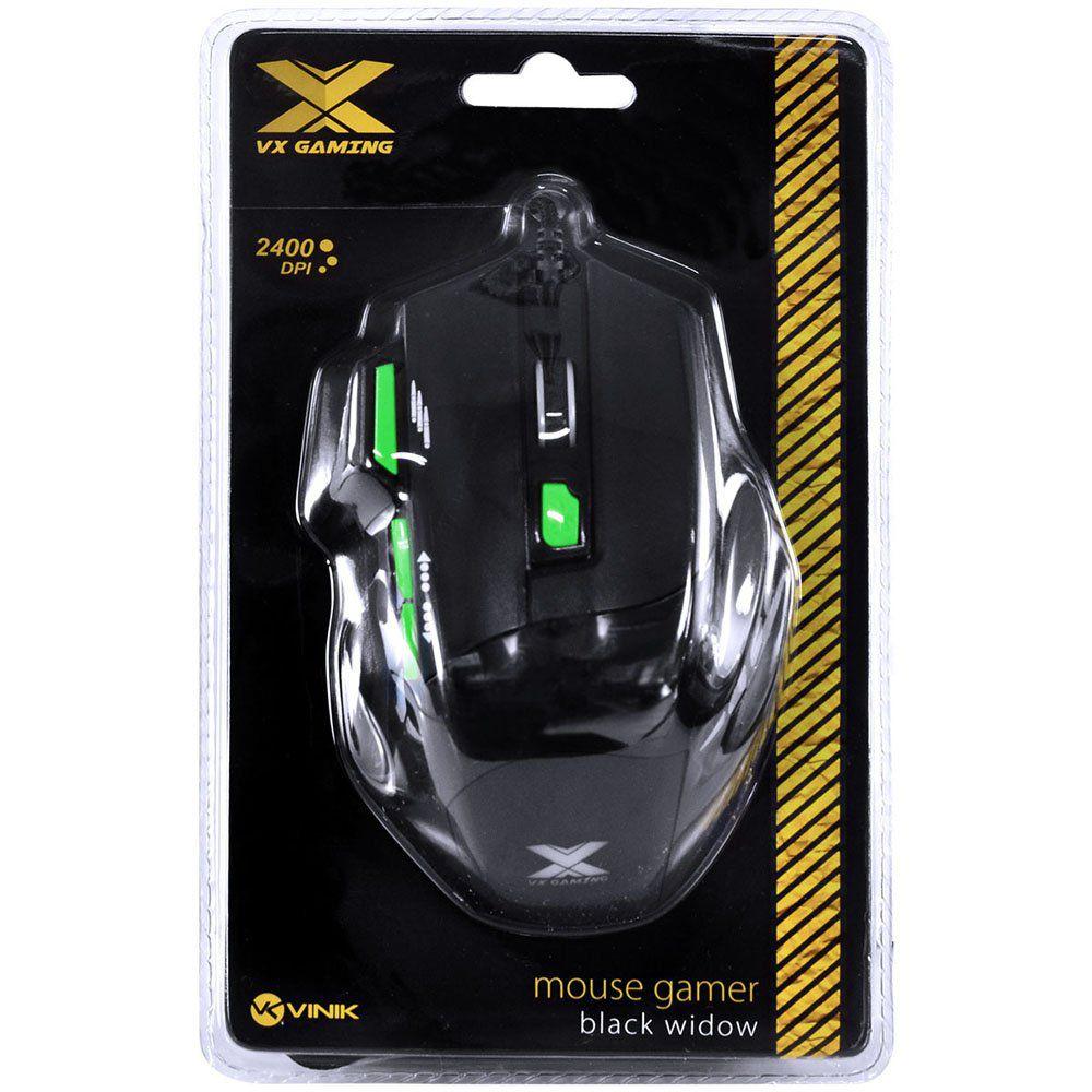 MOUSE GAMER USB BLACK WIDOW 2400DPI PRETO/VERD 28430 - VINIK