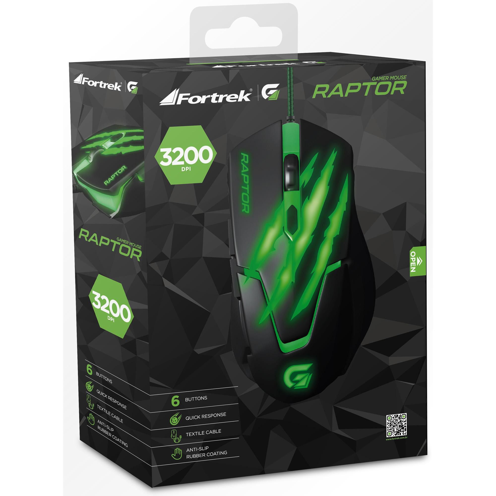 MOUSE GAMER USB RAPTOR OM-801 3200DPI - FORTREK
