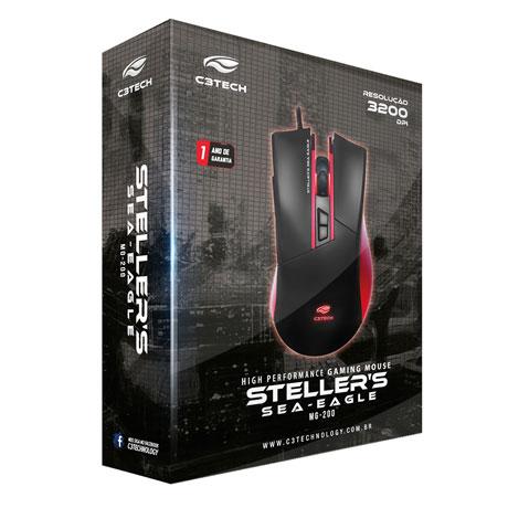 MOUSE GAMER USB STELLERS MG-200BRD PRETO/VERMELHO - C3