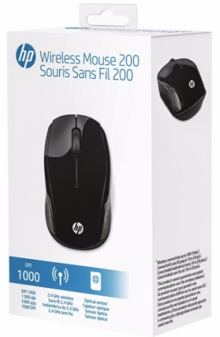 MOUSE ÓPTICO SEM FIO WIRELESS 200 SOURIS SANS FIL PRETO - HP