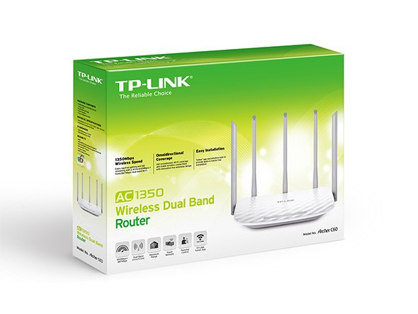 ROTEADOR WIRELESS 1317MBPS AC1350 ARCHER C60 C/5 ANT - TP-LINK