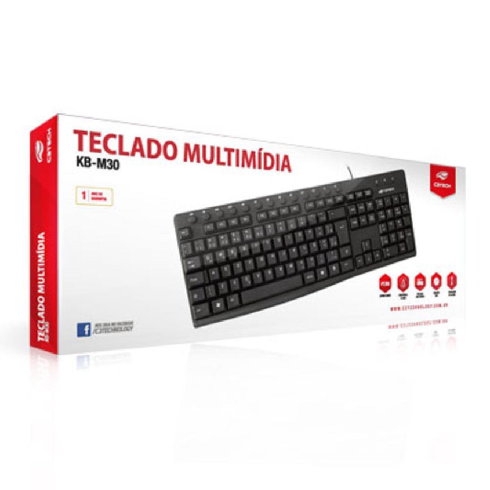 TECLADO MULTIMIDIA USB KB-M30BK ABNT2 PRETO - C3 TECH
