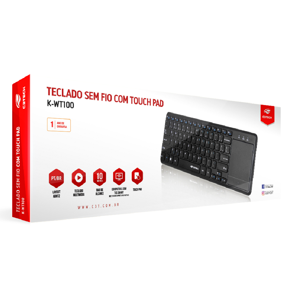 TECLADO SEM FIO C/ TOUCH PAD K-WT100BK PRETO - C3 TECH