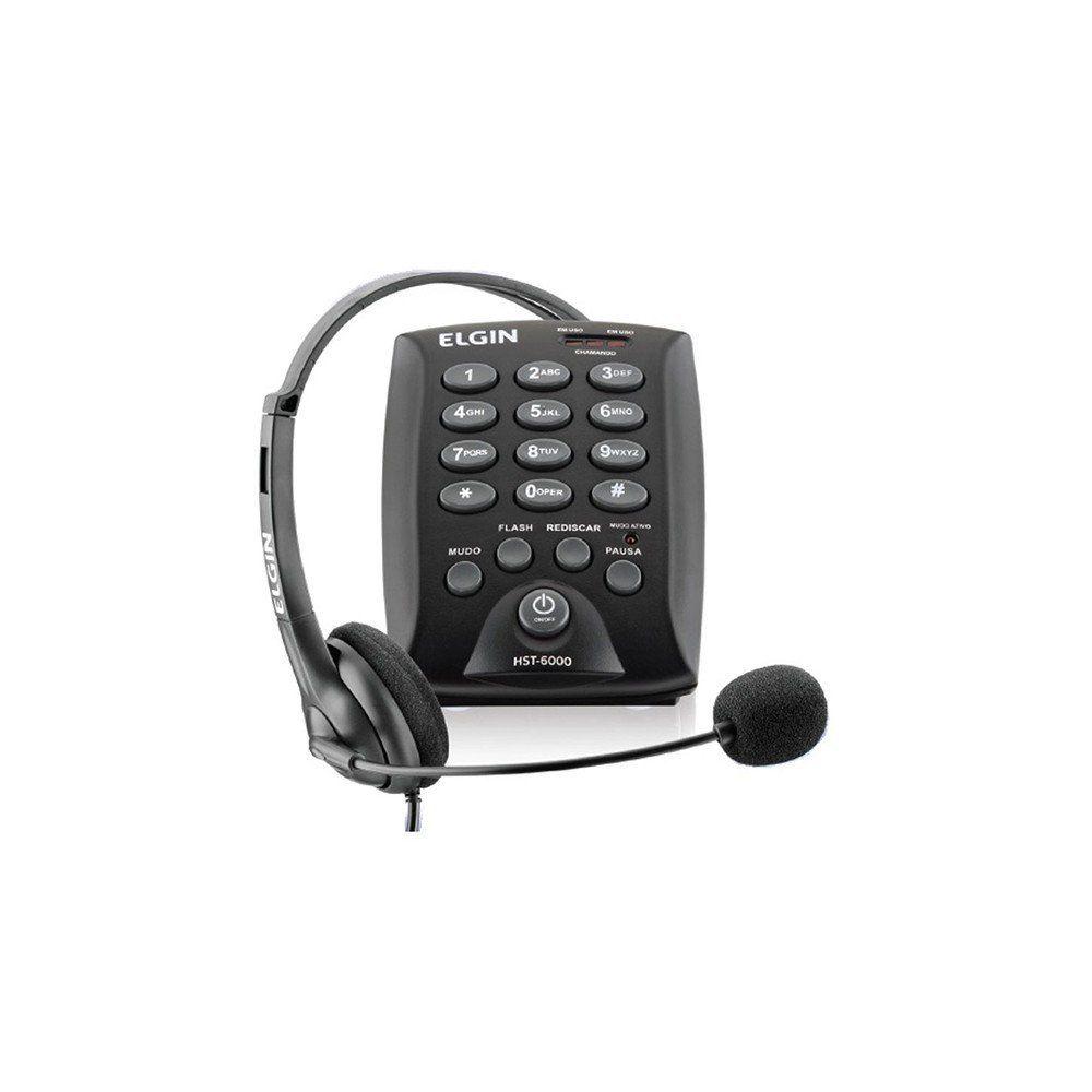 TELEFONE HEADSET HST-6000 PRETO - ELGIN  - GAÚCHA DISTRIBUIDORA DE INFORMÁTICA