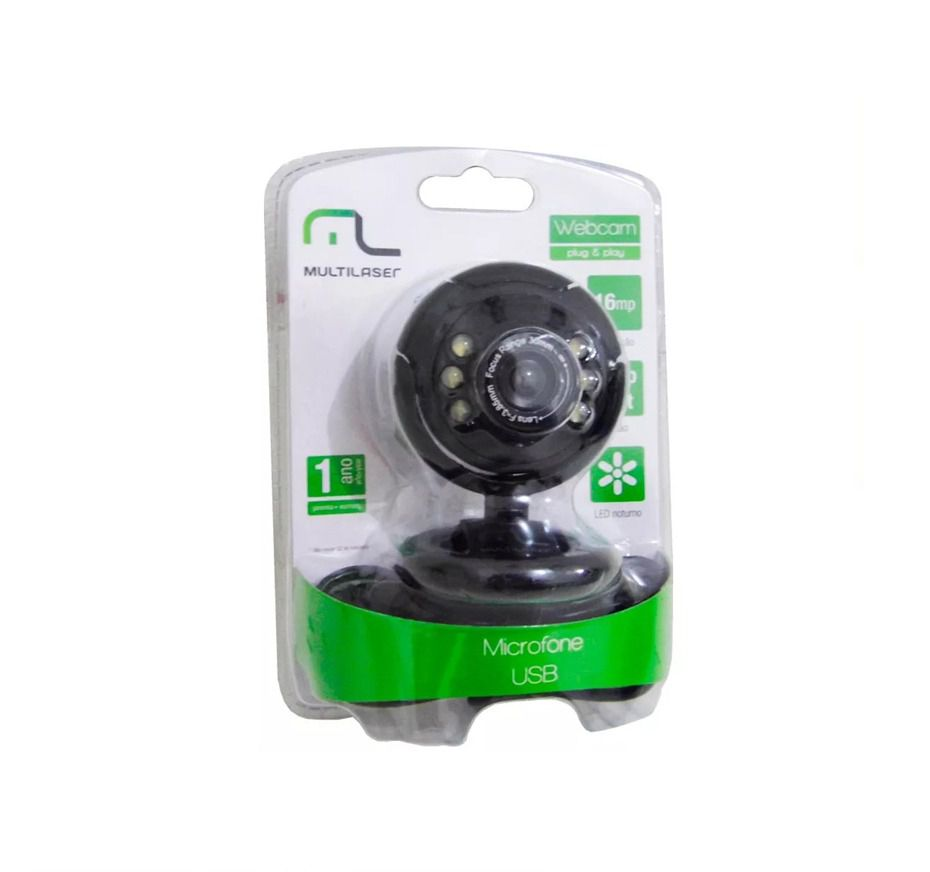 WEB CAM 1.3MP ATE 16MP MIC USB PRETO WC045 - MULTILASER