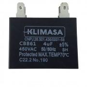 Capacitor Condensadora CBB61 450V 4UF +/-5% Diversos Ar Condicionado Klimasa