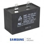 Capacitor do Compressor DMF-251206.SH 110V 12000nF 250V Refrigerador Samsung RS21HDTSW, RS21HKLMR
