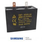 Capacitor do Compressor DMF-45505.SH 220V 5000nF Refrigerador Samsung RS21HDUPN, RS21HDUSW, RZ80EERS