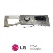 Gabinete Frontal Superior Prata + Placa Display / Interface EBR78770649 Lava e Seca LG WD11EP6A