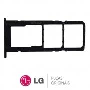 Slot / Bandeja do Chip Preta Celular / Smartphone LG K41S LMK410BMW