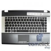 Teclado Padrão Brasileiro com Gabinete Superior e Touch Pad para Notebook Samsung NP-RF411
