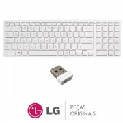 Teclado Sem Fio V320 Branco + Receptor de Sinal para All In One e Notebook LG