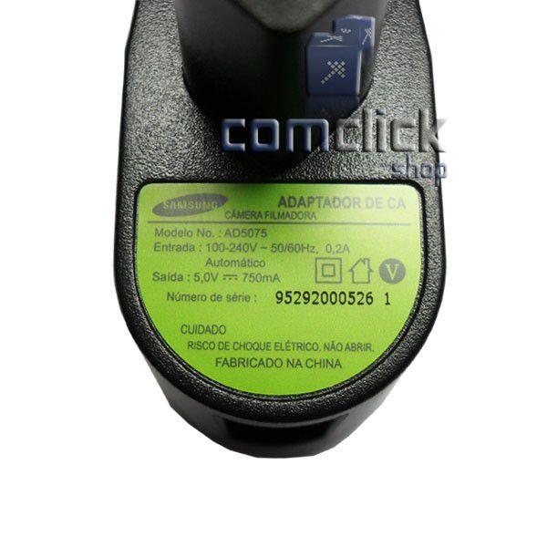 Carregador AD5075 5V 750MA para Filmadora Samsung HMX-F80BN