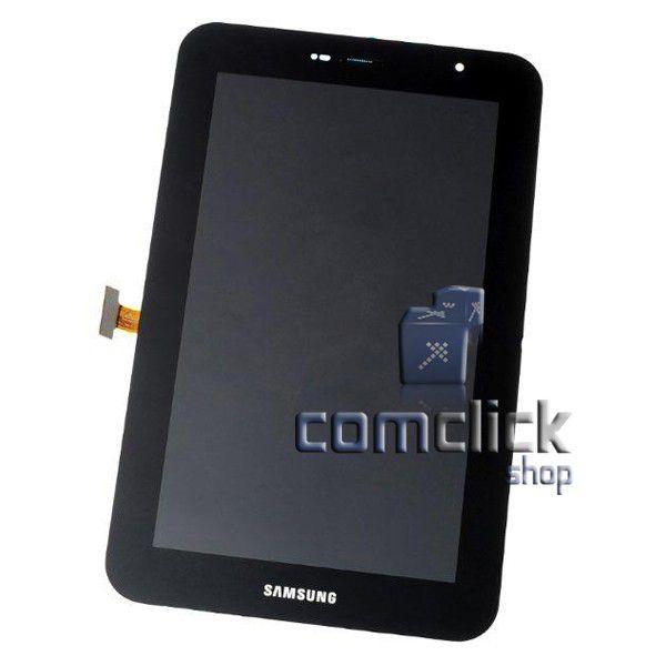 Módulo Frontal com Display LCD, TouchScreen e Gabinete Frontal Preto Samsung GT-P6200L, GT-P6210