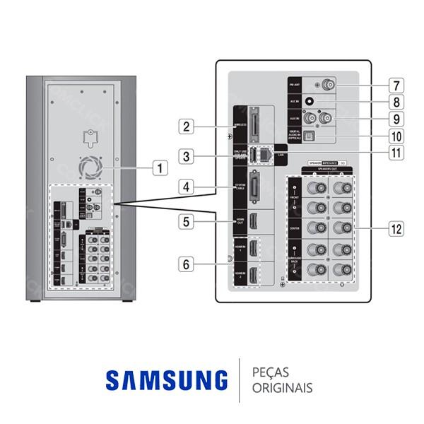 Subwoofer Ativo PC-C9950W 3 OHMs 240W para Home Theater Samsung HT-C9950W