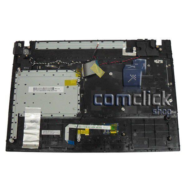 Teclado Padrão Brasileiro com Gabinete Superior e Touch Pad para Notebook Samsung NP300V4A, NP305V4A