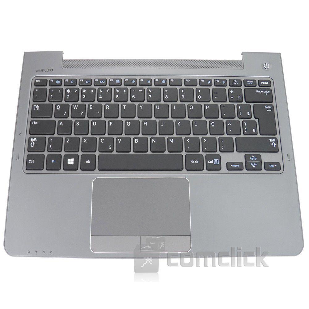Teclado Padrão Brasileiro com Gabinete Superior e TouchPad para Ultrabook Samsung NP530U3C