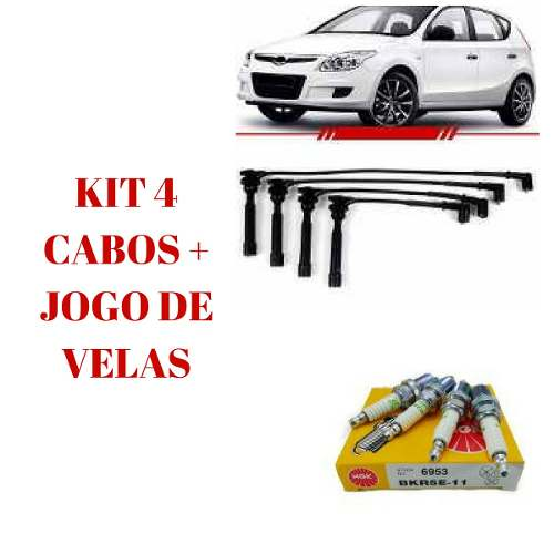 Kit Jogo Velas + Cabo Vela Ignicao Hyundai I30 09/12 2.0 16v