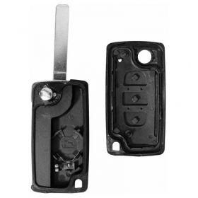 Carcaça da Chave Canivete Sem Rasgo e Trava de Bateria Peugeot 207 / 307 / 308 / 407