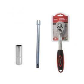 Catraca Reversível 1/2 + Extensão 1/2 x 10 e Soquete 16mm - 90mm