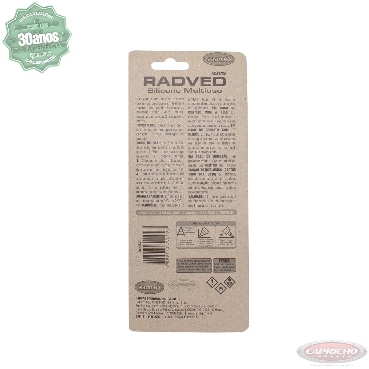Cola Silicone multiuso Fixador Superfície lisa - Radved incolor