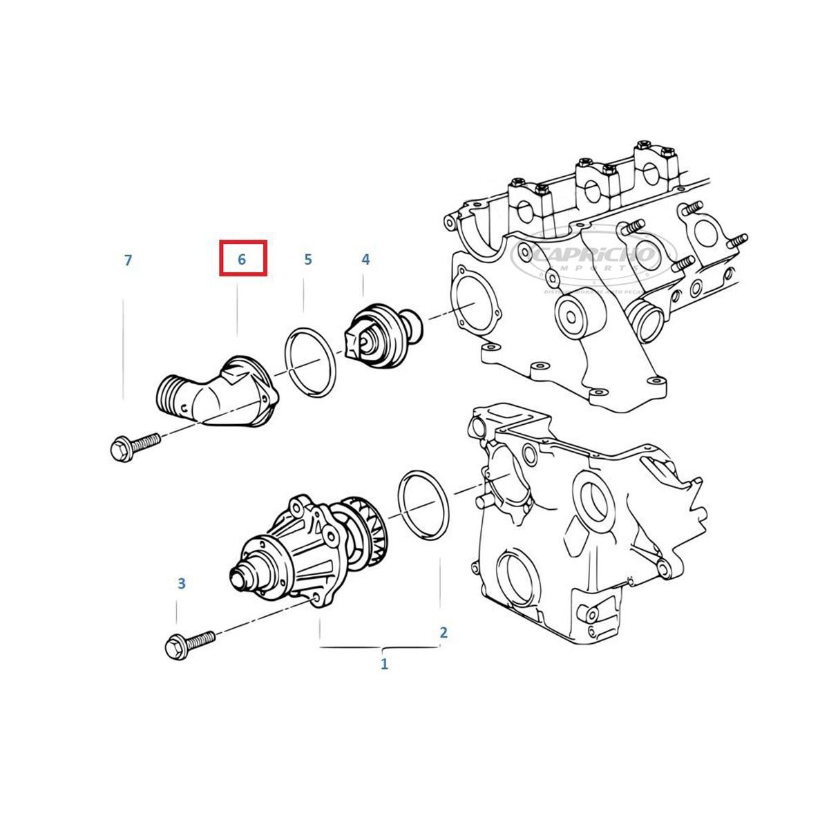 Conector / Flange Válvula Termostática BMW E36 318 325 525 725 TODAS - 1991 / 2000