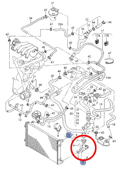 Flange D'Água Radiador Inferior Audi A3 / VW Bora - 6Q0122291F