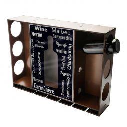 Adega de madeira para 6 garrafas de vinho com porta rolhas e fundo adesivado Woodart - 12822
