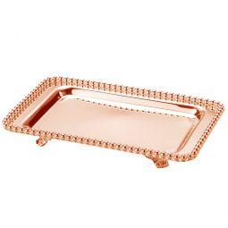 Bandeja retangular 25 cm de zamac Rosé Gold com pés Balls Lyor - L4239