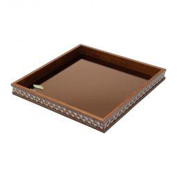 Bandeja, suporte 36,5 cm de madeira com vidro bisotê marrom Diamond Woodart - 11982