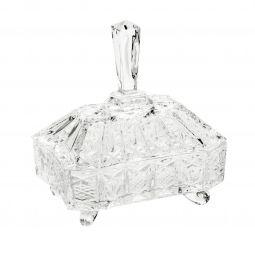 Bomboniere 22 cm de cristal transparente com tampa Lou Wolff - 2669
