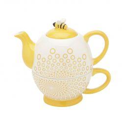 Conjunto 2 peças para chá de cerâmica branca e amarela Abelha Lyor - L64022
