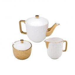 Conjunto 3 peças para chá de porcelana branca e dourada Vera Wolff - 17454