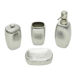 Conjunto 4 peças para banheiro de cerâmica prateada Lux Prestige - 26846