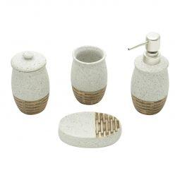 Conjunto 4 peças para banheiro de cerâmica Stone Silver Mat Prestige - 26848