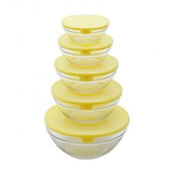 Conjunto 5 potes de vidro transparente e tampa de plástico Amarelo Bon Gourmet - 25622(3)