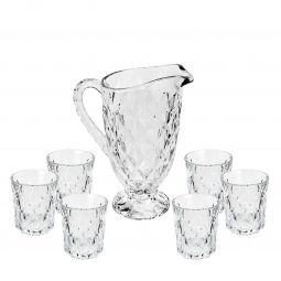 Conjunto Jarra 1,2 litros + 6 copos 300ml de vidro transparente Triangles Bon Gourmet - 35271