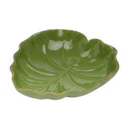 Folha decorativa 23,5 x 22 cm de cerâmica verde Lyor - L3872
